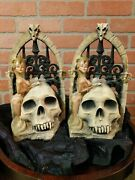 Cool Pair Vintage Sexy Gladiator Bookends Skull Wrought Iron Fence Decorative