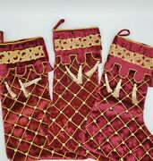 Set Of 3 Mark Roberts Collection Victorian Christmas Stockings Velvet Pearls 18