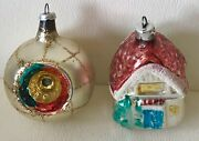 Vintage German Hand Blown Glass Christmas Feather Tree Ornament House Indent X2