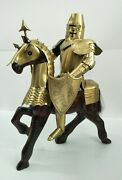 Templar Armor Replica With Spear Shield Fitted On Wooden Small Horse For Decor