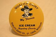 1950 Hopalong Cassidy Pinback Button   Quality Dairy Ice Cream   1.5 Inches Usa