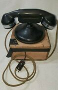 Vtg Monophone Automatic Nondial Desk American Electric Telephone Phone And Battery