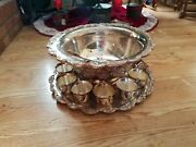 Silverplate Footed Vintage Punch Bowl Set 11 Cups Tray Ladle Marked Towle