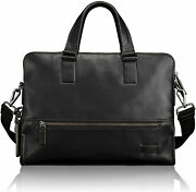 New Tumi Harrison Taylor Smooth Leather Briefcase Bag Laptop Black Men's Travel