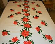 Vintage Christmas Cotton Tablecloth 58x 97 Red Poinsettia W/greenery No Stains