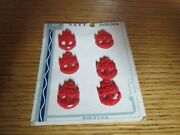 Vintage Carded Lot Of 6 Us Navy Usn Sewing Buttons Red Plastic Anchor And Rope