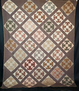 Antique Quilt Capital T Block, Duck And Ducklings, C1840 Shoo Fly - 90 X 74