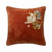 Bagatelle By Yves Delorme, Rust Velour Decorative Pillow With Floral Embroidery