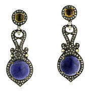 18k Gold Sterling Silver Round Cut Iolite Citrine Pave Diamond Dangle Earrings