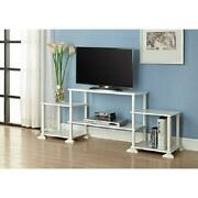 Entertainment Center Tv Stand Media Console Wood No Tools Assembly [many Colors]
