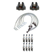 Denso 2 Ignition Coils Wire Set 8 Double Platinum Spark Plugs Kit For Ford 5.0l