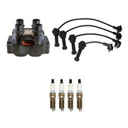 Denso Ignition Coil Wire Set 4 Double Platinum Spark Plugs Kit For Ford 2.0l L4