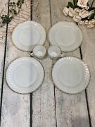 Vintage Anchor Hocking Milk Glass Plates Teacup White Gold 6 Piece Holiday Table