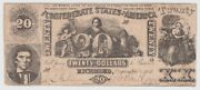 1861 20 Dollar Bill Csa Note Confederate States Of America Free Shipping 62545