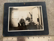 Antique 1920's Cabinet Card Photograph Man In Office With Candlestick Telephones