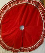 Vintage Ruby Red Cotton Christmas Tree Skirt Mint Condition Rick Rack Ribbon