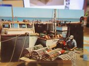 Vintage Old Massachusetts Postcard Cape Cod Lobsterman Baiting Cage Traps Boats
