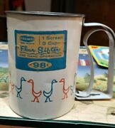 Vintage Tin Flour Sifter Androck W/ Red Blue Geese One Hand Use Works Great