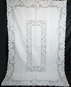 Antique Tablecloth Organdy Applique Whitework, Hand Stitched, 102 X 66-1/2
