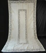 Antique Italian Filet Linen Tablecloth With Embroidery, Banquet Size 134 X 68