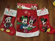 Lot Of 3 Disney Mickey And Minnie Christmas Tree Skirt And Stocking Nwt