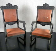 Pair Antique Ebonized Carved Wooden Chairs Large Scale Dollhouse Miniature
