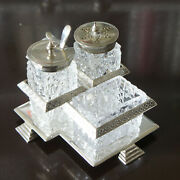Victorian Sheffield Walker Hall Silver Plate Cut Crystal 3 Pc Condiment And Caddy