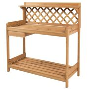 Fast Furnishings Solid Wood Garden Work Table Potting Bench In Natural Finish