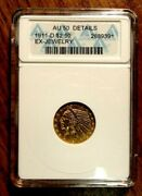 1911-d Indian Head Gold 2.5 Anacs Au50 Details Ex Jewelry Key Date Rare