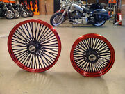 Dna Mammoth 52 Fat Spoke 21x3.5 18x3.5 Candy Red Wheel Set Harley Softail Deluxe