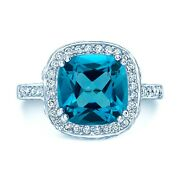 Cushion Cut Blue Topaz Diamond Ring 18k White Gold Cocktail Certified Natural