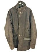 Mens East West Leather Jacket | Size Xl | Brown Button Down Genuine Leather Coat