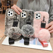 Luxury Warm Rabbit Fur Hair With Rope Soft Tpu Case Cover + 2pcs Tempered Glass