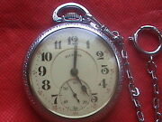 Illinois 19 Jewels Antique Open Face Pocket Watch With Chain S/n 385632