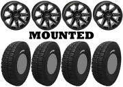 Kit 4 Tensor Dsr35 Tires 35x10-15 On Quadboss Blitz Gloss Black Wheels 1kxp