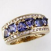 Estate Wide 2.37ct Diamond And Aaa Tanzanite 14k Yellow Gold Trillion And Round Ring