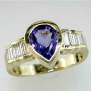 1.95ct Diamond And Aaa Tanzanite 14kt Yellow Gold 3d Pear Shape Engagement Ring