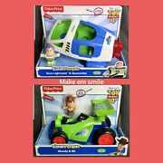 2 Fisher Price Little People Disney Pixar Toy Story 4 Woody Rc Buggy Buzz Space