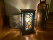 Handmade Stain Glass And Agate Lamp In A Walnut Fixture
