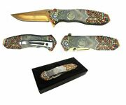 8 Masonic Vintage Mosaic Spring Assisted Pocket Knife Square And Compasses Gold