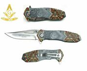 8 Masonic Vintage Mosaic Spring Assisted Pocket Knife Square And Compasses Gray
