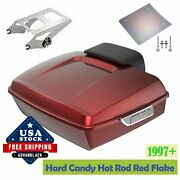 Advanblack Hard Candy Hot Rod Red Flake Chopped Tour Pack Trunk For 97+ Harley