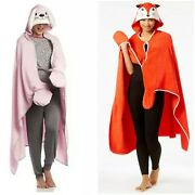 Set Of 2 Pj Couture Hooded Wrap Ponchos Bunny Rabbit Fox For Holidays Rare Find