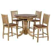 Sunset Trading Brook 5 Piece Round Or Oval Butterfly Leaf Pub Table Set | Sla...