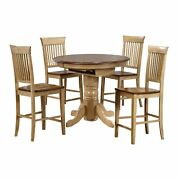 Sunset Trading Brook 5 Piece Round Or Oval Butterfly Leaf Pub Table Set | Fan...