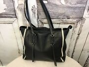 Alco Black Leather Shoulder Bag With White Stripe