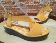 Fly London Yellow Leather Rale Gored Cross-band Wedge Sandal 38 7 - 7.5 New