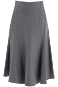 New Thom Browne Flared Skirt In Wool Flannel Fgc738a00021 Med Grey Authentic Nwt