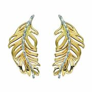 Feather Earrings Yellow And 9ct White Gold