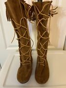 Minnetonka/moccasin Lace Up Suede Knee High Boots Size 9 Fringed Brown Hippie